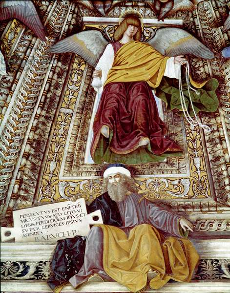 Representation of Baruch (Baruch ben Neria) disciple of Jeremiah and an angel Fresco by Melozzo da Forli (Melozzo degli Ambrosi) (1438-1494) Cupola of the sacristy of Saint Mark (Marco), sanctuary of the santa casa, Loreto