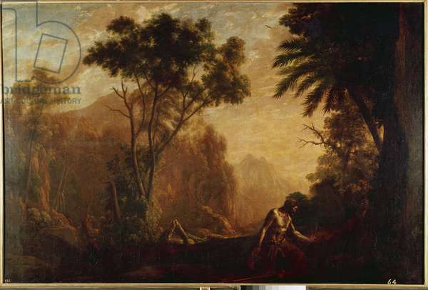 Landscape with an anachorete - Painting by Claude Gellee, dit le Lorrain (ca. 1600-1682), circa 1637, oil on you, 158x237 cm. Madrid, Prado