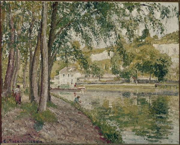Moret, the Loing Canal: the path to Saint Mammes. Painting by Camille Pissarro (1830-1903), 1902. Orsay Museum