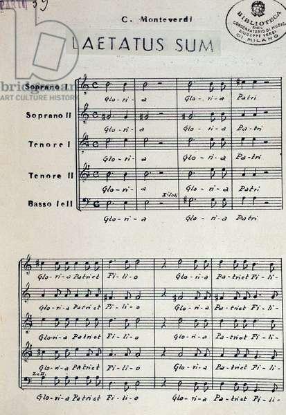 """Musical score of """""""" Laetus sum"""""""" by italian composer Claudio Monteverdi (1567-1643). Milan, biblioteca del conservatorio"""