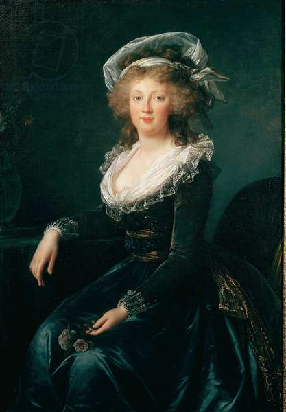 Portrait of Marie Therese of Bourbon Naples, Queen of Naples and Sicily (1772-1807) then Wife of Francois II of Austria Painting by Elisabeth Vigee Lebrun (1755-1842) 1790 Naples, museo di Capodimonte - Princess Maria Teresa (1755-1793) (later Empress of Austria) by Elisabeth Vigee E Lebrun (1755-1842). Oil on canvas, 121x84 cm, c.1790. Museo Nazionale di Capodimonte, Naples, Italy