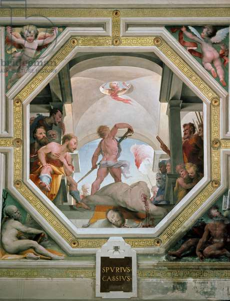 The decapitation of Spurius Cassius Vecellinus or Viscellinus executed by his father for considering becoming king in 485 BC Fresco by Domenico di Giacomo di Pace dit Beccafumi (1486-1551) 1529-1535 Siena (Siena), Palazzo pubblico