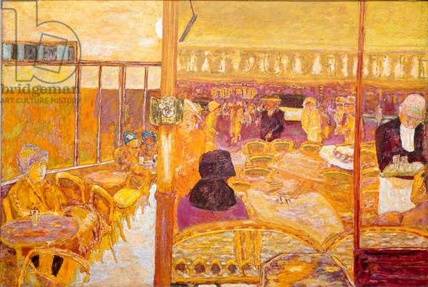 The door window Terrace and coffee room. Painting by Pierre Bonnard (1867-1947) 1933 Collection privvee