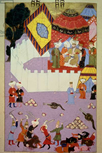 """The assassination of Sultan Murad I (1326-1389) by Serbian knight Milos Obilic (Kobilic or Kobilovic) (died 1389) in the Battle of Kosovo following the victory of the Ottomans over the Serbs Miniature from Lokman's """"Hunername"""", vol. 1 (H 1523, f.7) 1584 Topkapi Sarayi Museum Library Istanbul"""