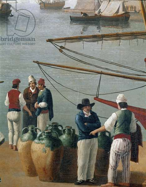 Fishermen and olive oil dealer in Naples, Italy (Fishermen, olive oil merchants in Naples harbour) Painting by Jacob Philipp Hackert dit Hackert d'Italie (1737-1807) Naples, Museo Nazionale di San Martino