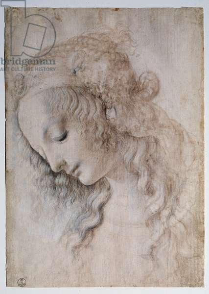 Portrait of Girl Drawing by Leonardo da Vinci (1452-1519) (Leonard de Vinci) Dim 28,2x19,9 cm Florence, (Uffizi) Gabinetto Disegni e Stampe, galleria degli Uffizi Italy