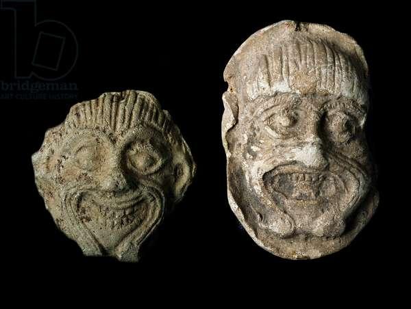 Heads of the demon Humbaba (terracotta)