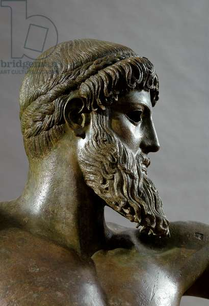 "Greek Art: """" Poseidon"""" (or Zeus) Detail. Bronze sculpture attributed to sculptor Kalamis (480-460 BC) From Cape Artemision. Dim. 209 cm Athenes, museum of national archeology - Greek Art: Head of Poseidon (or Zeus) - Bronze sculpture, by Kalamis (480-460 BC) 5th cent. BC, found in the sea of Cape Artemision - National Archaeological Museum, Athens, Greece"