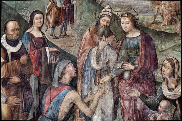 Saint Cecilia gives her possessions to the poors, detail (fresco, 1506)