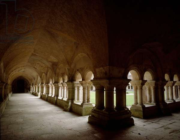 View of the cloister of the Cistercian abbey, 12th century (photography)