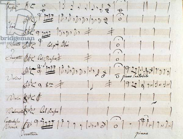 First page of musical score of minuet in  Armida by J Haydn (1784)
