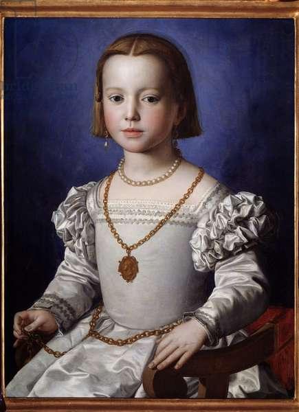 Portrait of Mary of Medicis (1537-1542) (Ritratto di Maria (Bia) by Medici) Painting by Agnolo di Cosimo dit Bronzino (1503-1572) 1542 Dim 59x45 cm Florence, galleria degli Uffizi (Uffizi)