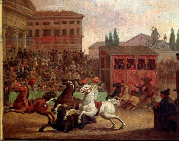 """Popular festivities: """""""" The race (or palio) of the """""""" Barberi"""""""" Anonymous painting of the 18th century. Rome Museo del Folklore"""