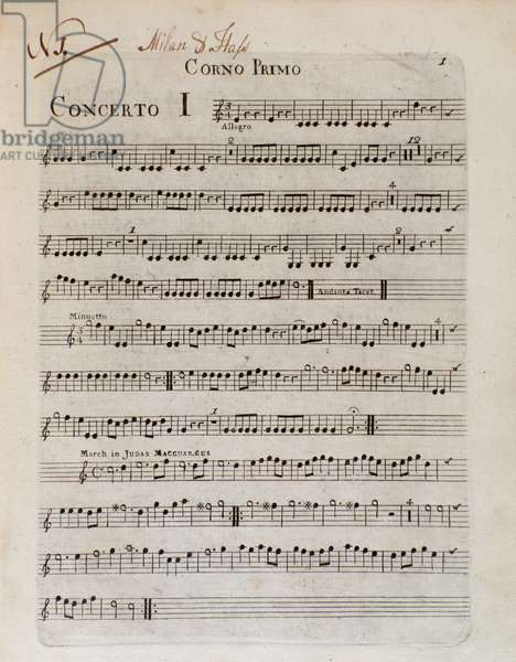 """Sheet music page for """""""" Six concertos en 8 parts"""""""" composed by Giovanni Battista Sammartini (1700-1775) and Johann Adolph Hasse (1699-1783) baroque composers - Page of musical score of """""""" Six concertos in 8 parts"""""""""""" by Giovanni Battista Sammartini and Johann Adolph Hasse - Bologna civico museo musicale"""