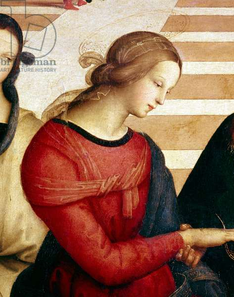 The wedding of the Virgin Detail of Mary. Painting by Raphael (Raffaello Sanzio 1483 - 1520), 1504. Whole Dim. 170x117 cm Pinacotheque of Brera, Milan.