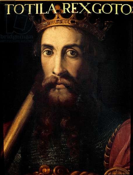 Portrait of King Ostrogoth Totila or Baduila (died 552) Anonymous painting. Florence, Galleria degli Uffizi (Offices), Raccolta Gioviana