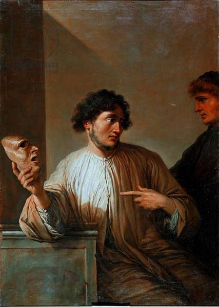 Allegorie lie in the form of a man holding a mask. Painting by Salvator (Salvatore) Rosa (1615-1673) 1651 Sun. 136x96 cm Florence, Palazzo Pitti