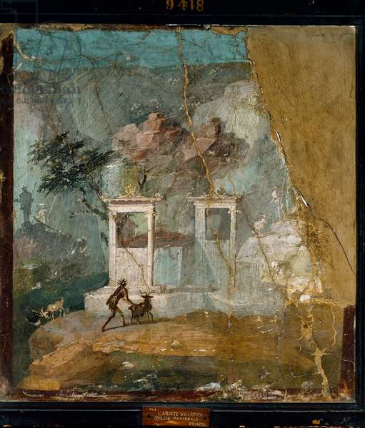 "Roman Art: ""The Lost Belier, Pastoral Idyll"" Roman fresco from the site of Pompei after a Greek original (2nd century BC). 1st century AD. Naples, Museo Archeologico Nazionale"