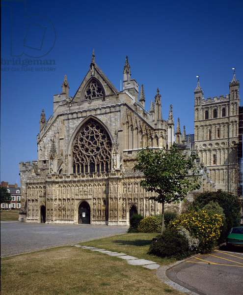 View of the cathedral of Exeter, beginning of the 14th century (photography)
