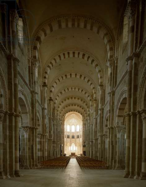 View of the central nave of the Basilica of Saint Mary Magdalene, 1096-1106 (photography)