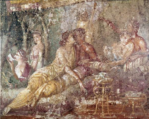 """Roman art: """""""" triclinium, a couple kissing"""""""" Detail (Roman art, triclinium, couple kissing) fresco from the house of Chastes lovers, Pompei, 1st century after JC (detail of fresco from Casa dei Casti amanti, Pompeii, 1st century Ac) Naples, Museo Archeologico Nazionale, inv 9015"""