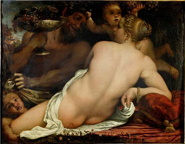 Bacchante (Venus satyre et deux amours) (The bacchante, venus, satyr and two cupids) Detail Painting by Annibale Carracci (1560-1609) (Annibal Carrache) ca. 1588 Florence Galleria degli Uffizi (Uffizi)
