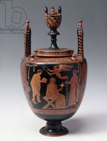 Bridal lebete with ceremony of offerings to the bride (clay, 330-300 BC)