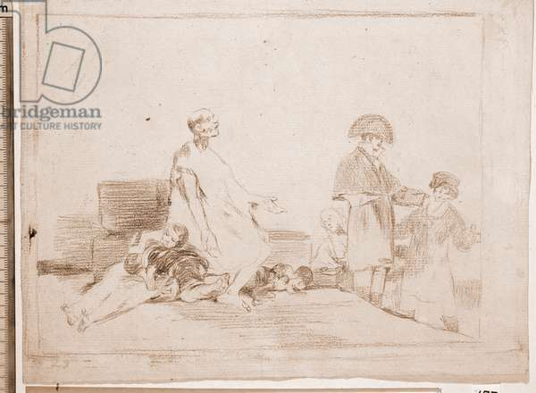 "Destres of the war: """" If they are from another line"""" (Si son de otro linage) - A group of poor asking for alumone from bourgeois - Preparation drawing in red pencil n°61 by Francisco de Goya y Lucientes (1746-1828) 1810-1820 Madrid Musee du Prado"