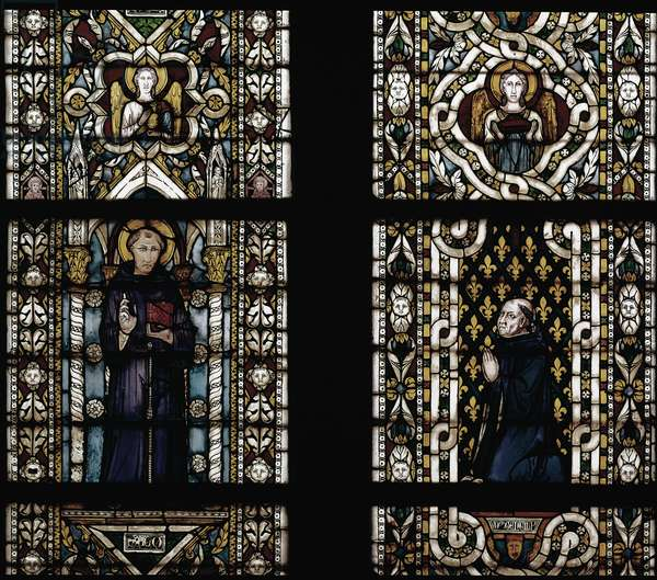 Saint Anthony of Padua (1195-1231) and Cardinal Gentile of Montefiore (Gentile Partino da Montefiore, Gentilis of Monteflorum, ca. 1240-1312) kneeling (St Anthony of Padua and Gentile da Montefiore) - Stained glass by Simone Martini (ca. 1284-1344), cm. 570x400. Basilica of St. Francis of Assisi, Lower Church, Chapel of St. Louis, Assisi