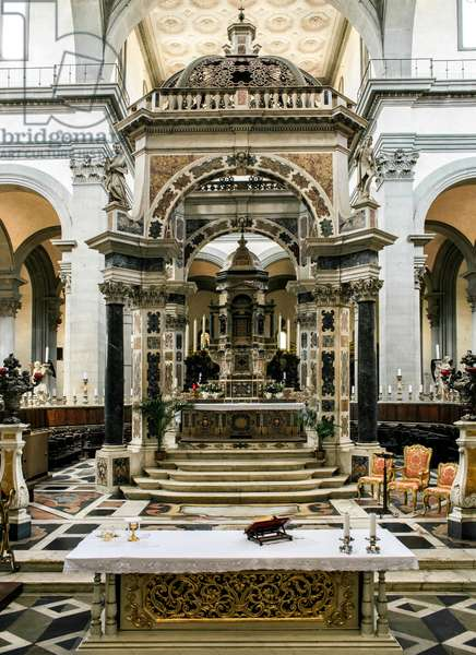 View of the altar with ciborium by Giovanni Battista Caccini (1556-1613) 1599-1607 (View of the altar with ciborium by Giovanni Battista Caccini) Florence Basilica di Santo Spirito Italy