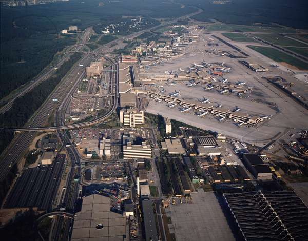 AAerial view of international airport, 1990 - Photography