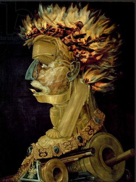 The Fire Painting by Giuseppe Arcimboldi (Arcimboldo) (1527-1593) 1566 Dim. 66,5x51 cm Vienna, Kunsthistorisches Museum