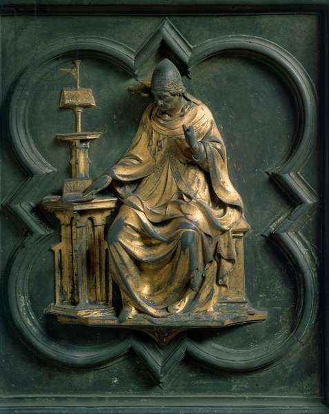 North Gate (called Gate of the Cross, to the North), exterior detail: Saint Gregoire the Great. Bronze sculpture made by Lorenzo Ghiberti (1378-1455), 1424. Baptistere San Giovanni, Florence