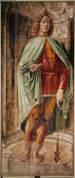 Young man at the club (Giovane dalla mazza) Cycle of the Men of Arms of the Panigarola family. Fresco by Donato Bramante (1444-1514) Pinacoteca di Brera, Milan