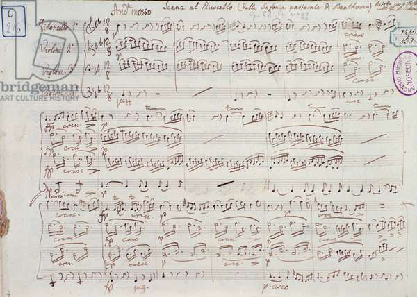 Page of the sheet music for  Symphony no 6 in F major, opus 68, by Ludwig van Beethoven, 1831