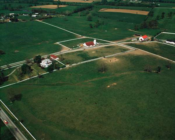 Aerial view of a stud raising pure blood horses north of Lexington, Kentucky, USA - 1988 - Aerial view of Thoroughbred horse farm near Lexington, Kentucky, USA, 1988 - Photography