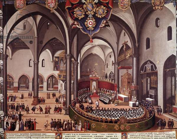 View of the Council of Aquilee in 1596 (Council of Aquileia, 1596) Anonymous painting 16th century Museo Correr Venice Italy