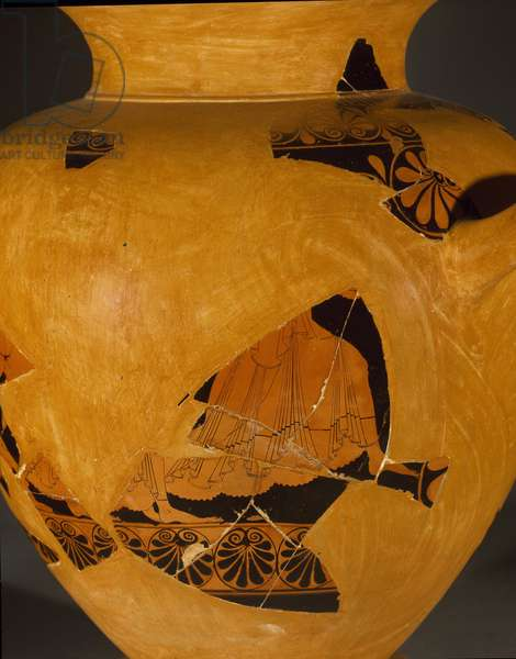 Fragment of stamnos: representation of the nereid Thetis and Pelee on the run. 6th-5th century BC (terracotta)
