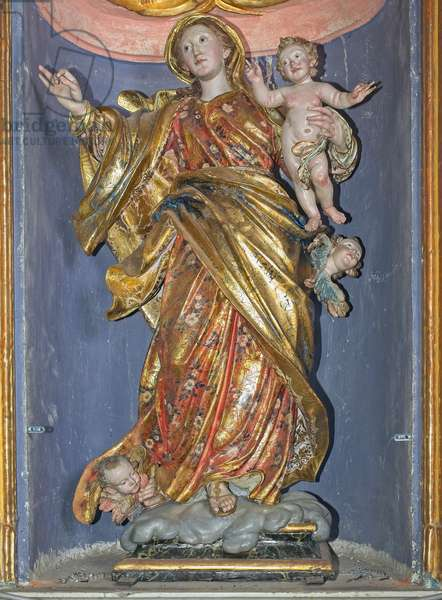 Madonna of the Rosary (doors 1750) (carved and painted wood)