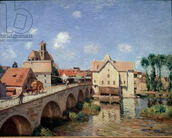 The bridge of Moret in 1893 Painting by Alfred Sisley (1839-1899) 1893. Dim 0.73 x 0.92 m. Paris musee d'Orsay - The Bridge of Moret in 1893. Painting by Alfred Sisley (1839-1899) 1893. 0.73 x 0.92 m. Orsay museum, Paris
