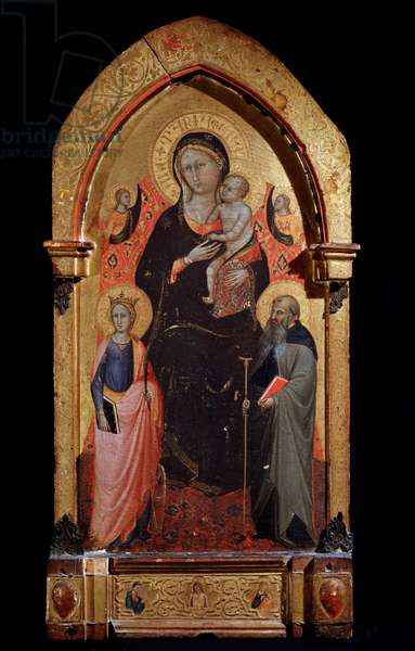 Virgin and Child with Saint Catherine of Alexandria, Saint Anthony the Great and Angels Painting by Bicci di Lorenzo (1373-1452) 1415 approx. Dim 90,4x43,5 cm Assisi, Museo del Tesoro della Basilica di San Francesco