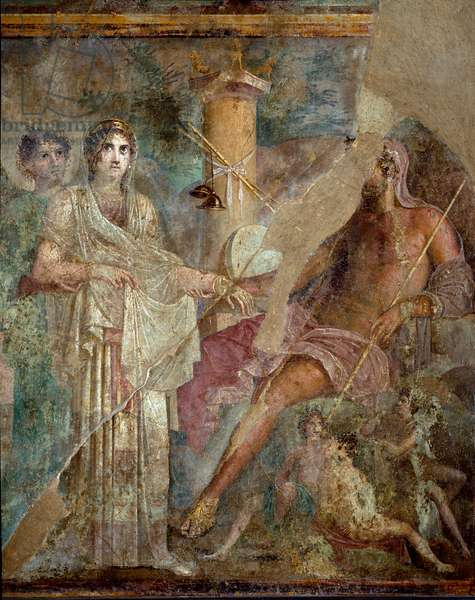 "Roman Art: """" The marriage of Zeus and Hera on Mount Ida"""" Roman fresco from the site of the house of the Tragic Poet in Pompei. 1st century AD. Naples, Museo Archeologico Nazionale - Roman art: The wedding of Zeus and Hera on Mount Ida. Roman fresco from the House of the Tragic Poet, Pompeii. 1st century AD. National Archaeological Museum, Naples, Italy"