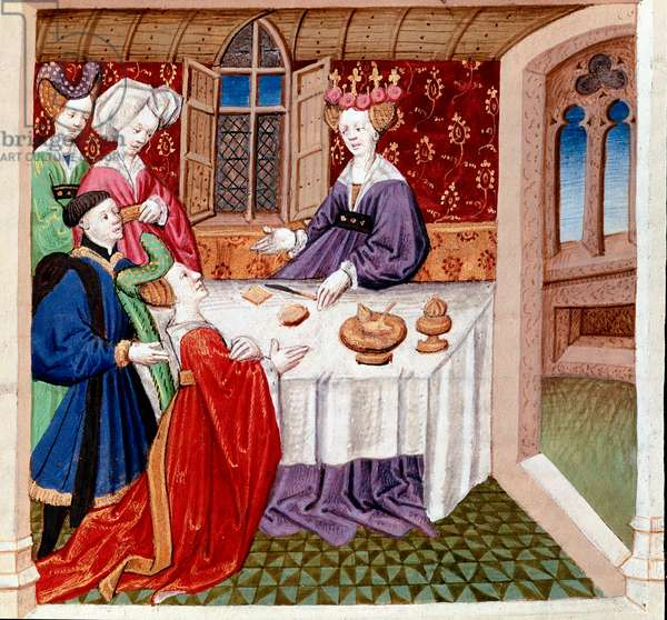 """Iseut (or Iseult) implores the protection of Queen Guenevre sitting at her table. Miniature taken from """""""" Romanesque du Chevalier Tristan et de la reine Yseult"""""""" by Gassien de Poitiers enluminated by Everard de Espinques (Evrard d'Espinques) (15th century). Chantilly, Conde Museum"""