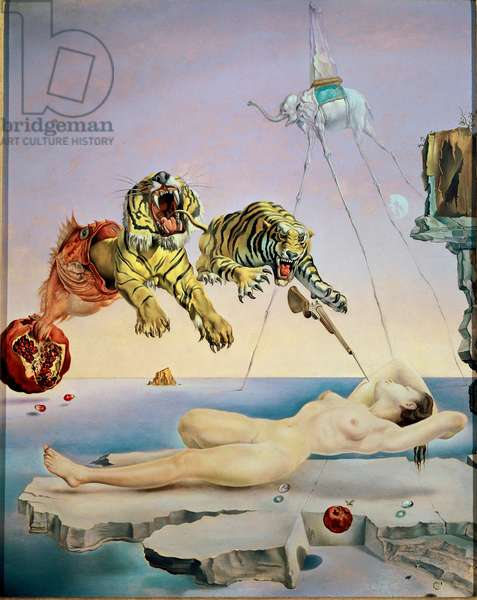 Reve cause by the theft of a bee around a pomegranate a second before awakening Painting by Salvador Dali (1904-1989) 1944 Dim. 51x41 cm Madrid, Thyssen Bornemisza Collection