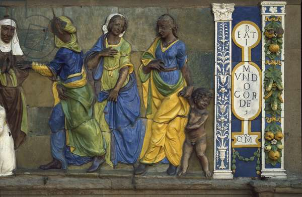 The Seven Works of Mercy, dress the denudes, 1526-1528) (low Terracotta relief)