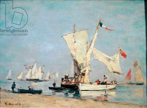 "Sailboats, circa 1869, Painting by Eugene Louis Boudin (1824-1898), Sun: 0,24x0,31m, Paris, Musee d'Orsay - """" Sailing Boats"""", c, 1869, Oil on wood by Eugene-Louis Boudin (1824-1898), Sun: 0,24x0,31m, Paris, Musee d'Orsay"