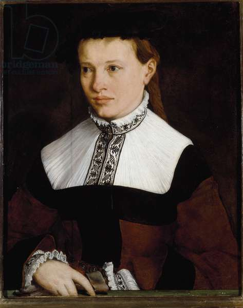 Portrait of Ursula Degnin A young woman of the German bourgeoisie, she holds her glove in her hand. Painting by Christoph Amberger (1505-1561) 16th century Florence, Galleria Palatina
