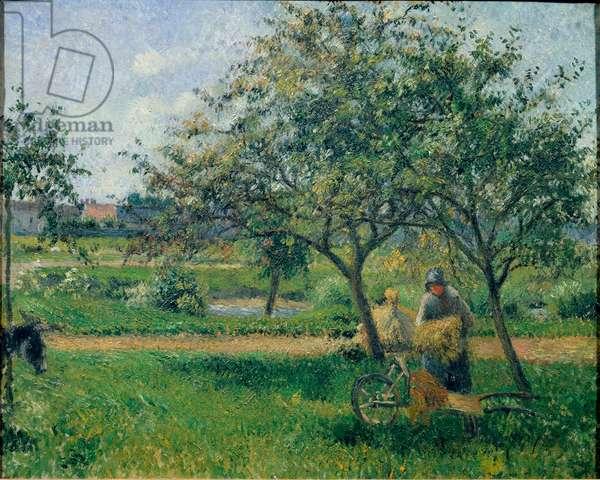 The wheelbarrow, orchard, ca 1881 (oil on canvas)