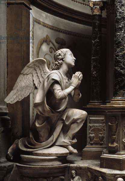Angel in Adoration Marble sculpture by Matteo Civitali (1436-1501), 1477. Lucca, cathedrale San Martino, Italy