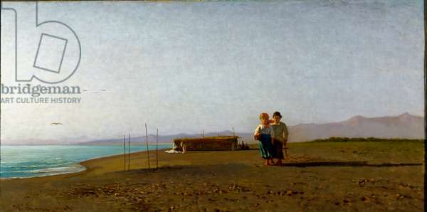 View of the beach in Viareggio the morning sun on the Tuscan coast, two child silhouettes. Painting by Vincenzo Cabianca (1827-1902), 1865 Sun. 40x77 cm Genes Nervi, Galleria d'Arte Moderna, inv. 33